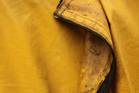 Zipper on yellow tarp