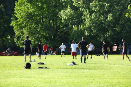 Soccer players, University of Toronto front campus