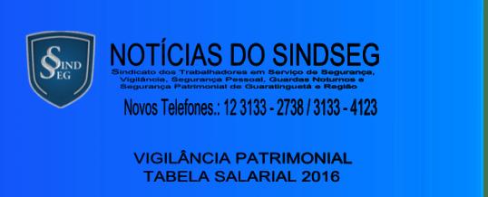 Tabela Salarial Vigilância Patrimonial 2016