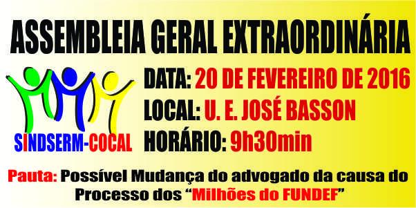 "<span class=""entry-title-primary"">ASSEMBLEIA GERAL EXTRAORDINÁRIA – 20 DE FEVEREIRO DE 2016</span> <span class=""entry-subtitle"">Às 9h30min na Unidade Escolar José Basson</span>"