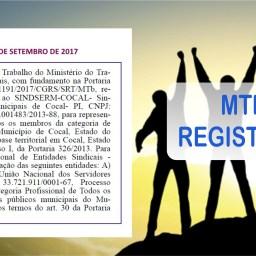 """<span class=""""entry-title-primary"""">MTE DEFERE REGISTRO SINDICAL DO SINDSERM-COCAL</span> <span class=""""entry-subtitle"""">Publicado no DOU do dia 25 de setembro de 2017</span>"""