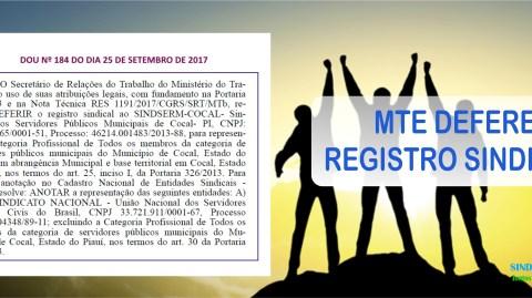 MTE DEFERE REGISTRO SINDICAL DO SINDSERM-COCAL