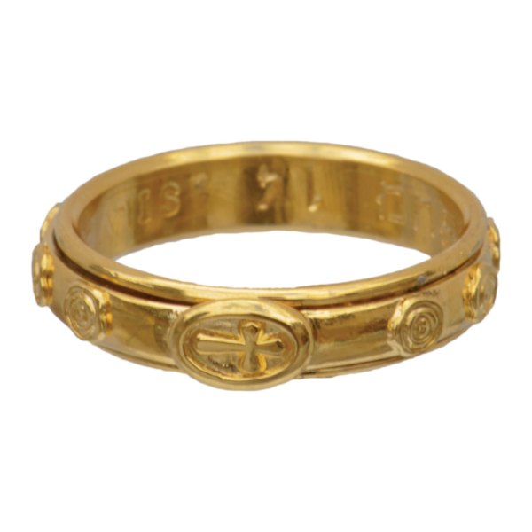 Sterling Silver 18k Gold Plated Spinning Rosary Ring