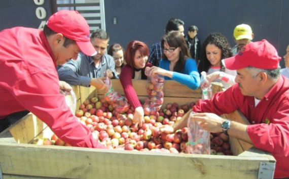 Productores de Cuauhtémoc regalaron kilos de manzana el 26 de febrero. Foto: YouTube