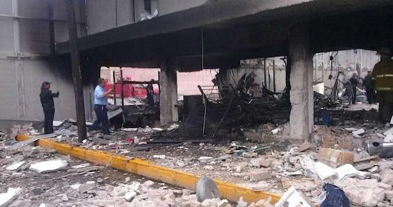 Explosión en los dormitorios de la Policía Fiscal. Foto: Twitter @PURONJOHNSTON