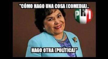 Carmen Salinas se volvió la burla de las redes, después de su destape en el PRI. Foto: Twitter