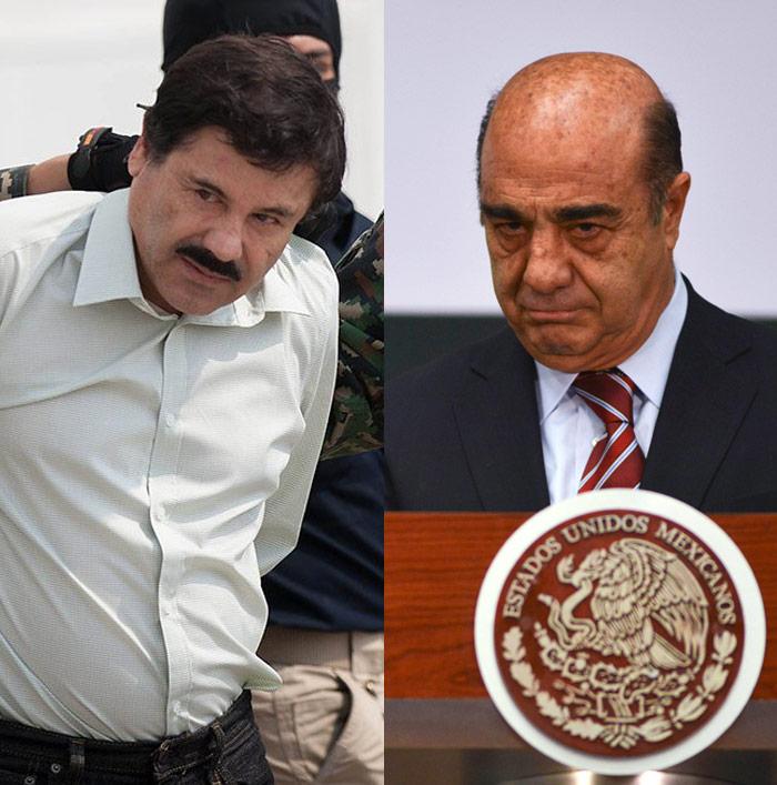 """""""El Chapo"""" y Murillo Karam. Fotos: Cuartoscuro"""
