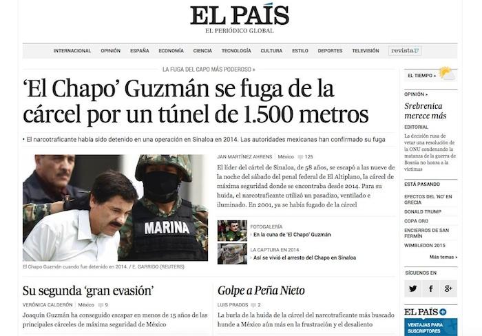 """La prensa internacional destacó en sus portales la noticia de la fuga de """"El Chapo"""". Foto: Especial."""