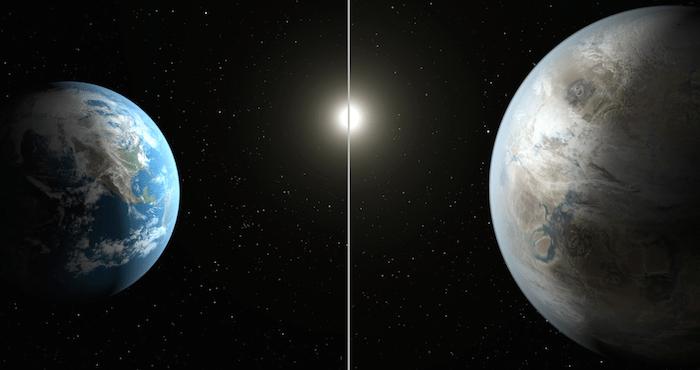 La imagen es la comparación de la Tierra (izquierda) con el nuevo planeta, llamado Kepler 452b, que es aproximadamente un 60 por ciento más grande en diámetro. Foto: NASA / JPL -Caltech / T. Pyle