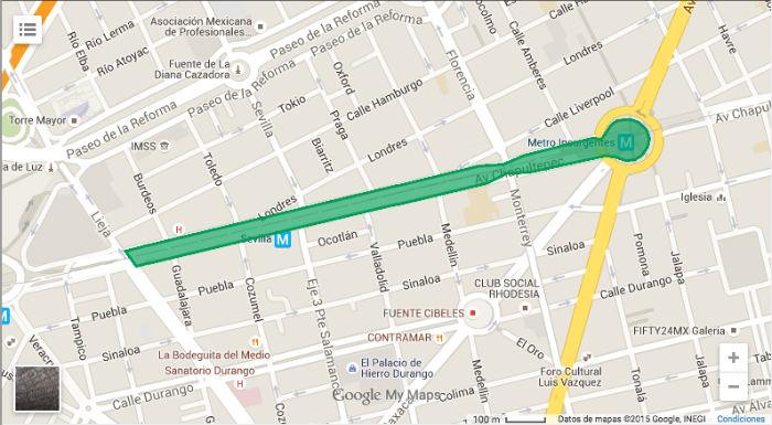 Zona donde se pretende construir el Corredor Cultural Chapultepec. Foto: ccchapultepec.mx