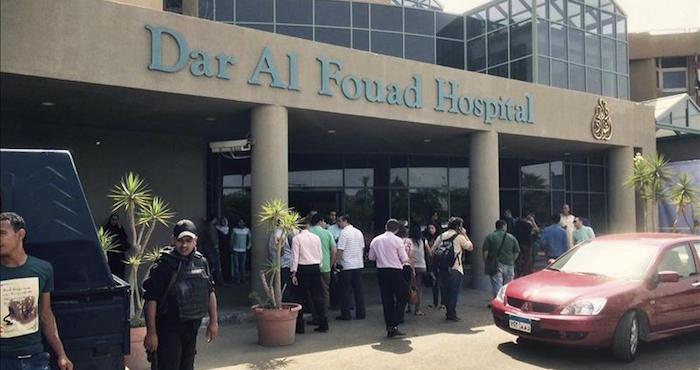 El hospital Dar al Fouad, donde permanecen ingresados los turistas que fueron confundidos por terroristas y disparados por error por las fuerzas de seguridad egipcias, en El Cairo (Egipto) Foto: EFE