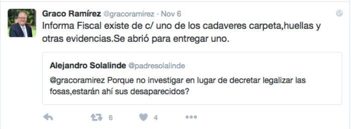 Una de las respuestas de Graco Ramírez a Solalinde. Foto: Twitter @gracoramirez