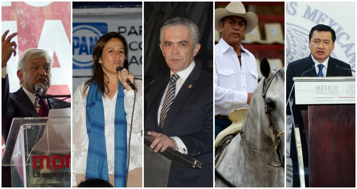 El top cinco de los presidenciables, según la encuesta del diario Reforma.