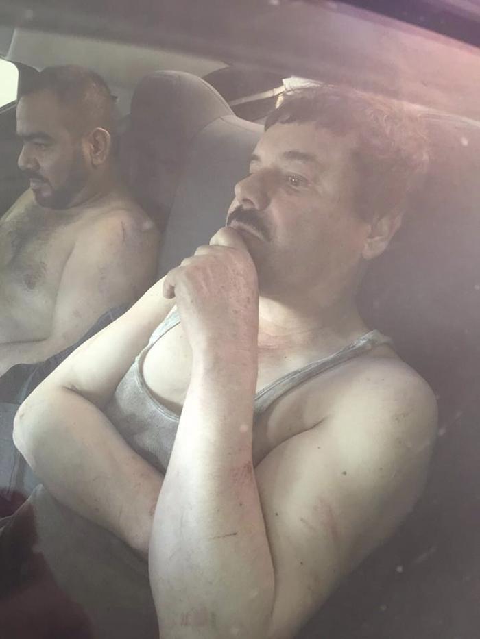 """""""El Chapo"""" Guzmán, el día de su captura. Foto: Cuartoscuro."""