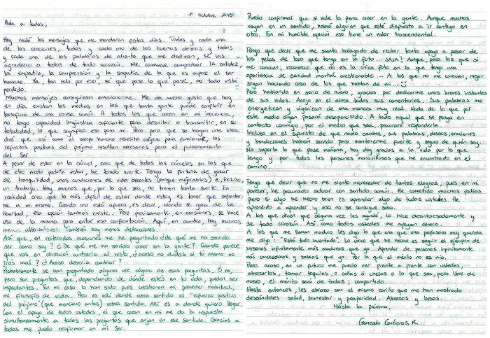 Carta qie escribió Gonzalo en octubre de 2015 para agradecer a quienes se han sumado a su causa. Foto: Facebook