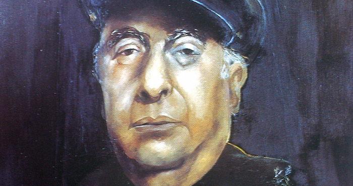 Retrato de Pablo Neruda donado a la fundación que lleva su nombre por la artista española Sofia Grandalia.  Foto: EFE/Cristian Larrain