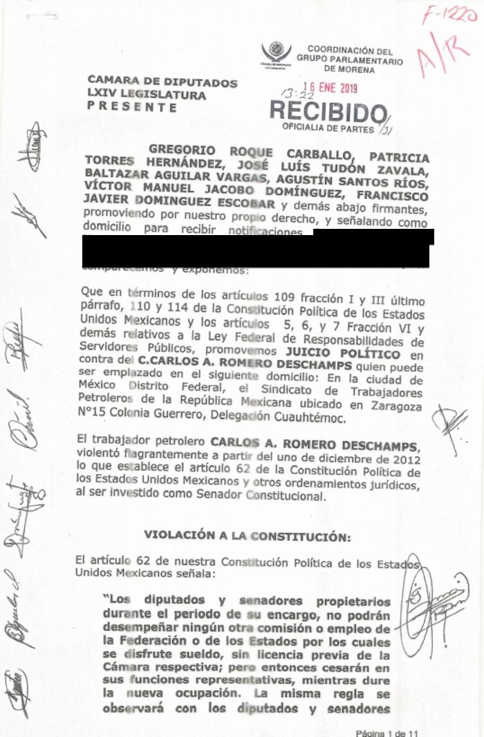 juiciopolitico recibo - Juicio político pendiente a Romero Deschamps