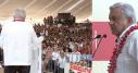 El Presidente de México continuó este domingo los actos multitudinarios con saludo de mano, cuando los gobiernos locales y el federal han cancelado eventos masivos para evitar concentraciones que faciliten la propagación del coronavirus. Fotos: Imágenes tomadas de transmisión en vivo