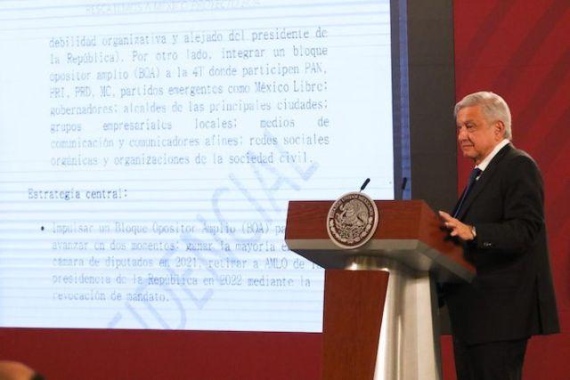 Andrés Manuel López Obrador, Presidente de México, presentó un documento confidencial en el cual se detalla un supuesto plan para evitar que obtengan mayoría en las elecciones del 2021.
