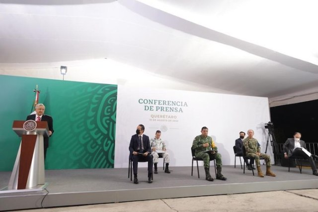 El Presidente Andrés Manuel López Obrador en su conferencia de prensa desde Querétaro.