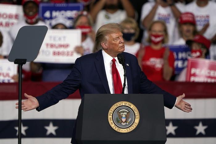 Donald Trump hablando durante un acto de campaña en Winston-Salem, Carolina del Norte, el 8 de septiembre del 2020.