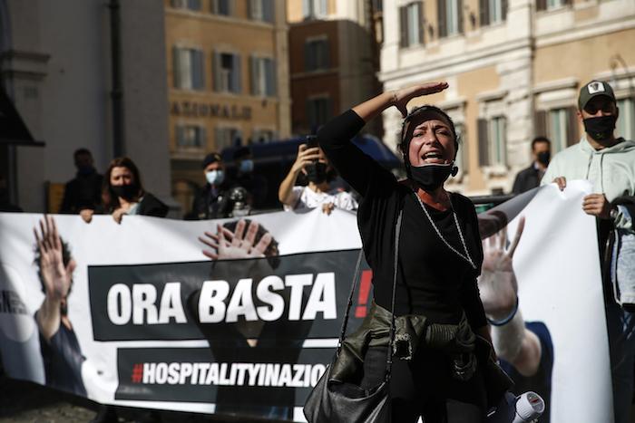 La protesta en contra de las restricciones contra el coronavirus en Roma, el 25 de octubre del 2020.