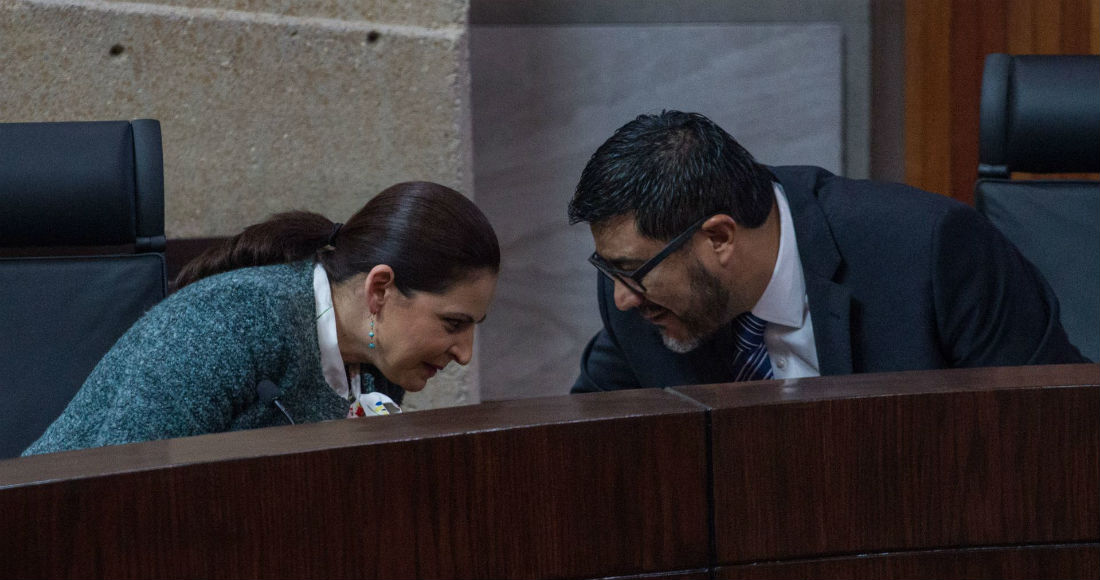 Los magistrados Mónica Aralí Soto Fregoso y Reyes Rodríguez Mondragón, durante una sesión del Tribunal Electoral del Poder Judicial de la Federación (TEPJF).