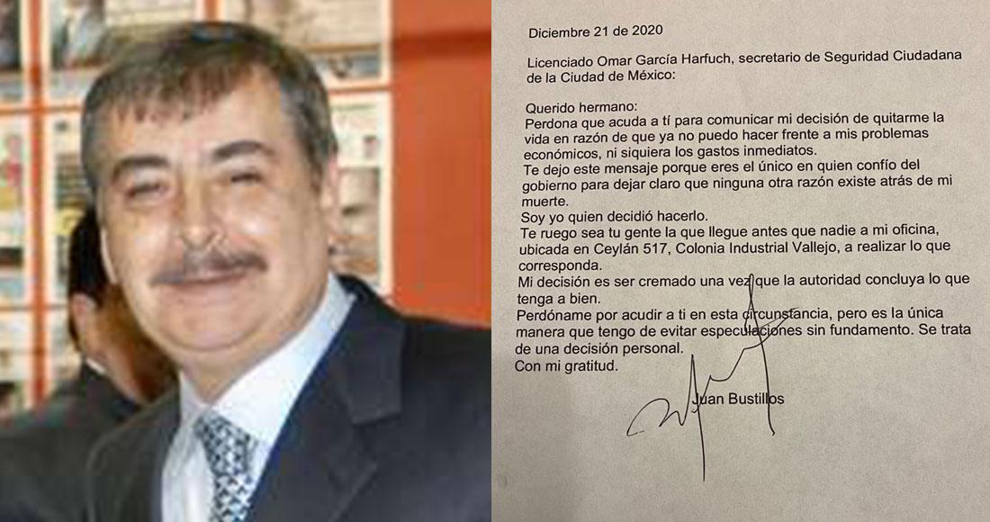 En la imagen se muestra al periodista y director de Impacto, Juan Bustillos, así como la supuesta carta póstuma que dejó. Foto: Impacto/Especial