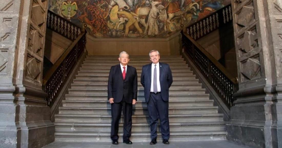 Los presidentes de México y Argentina en Palacio Nacional.