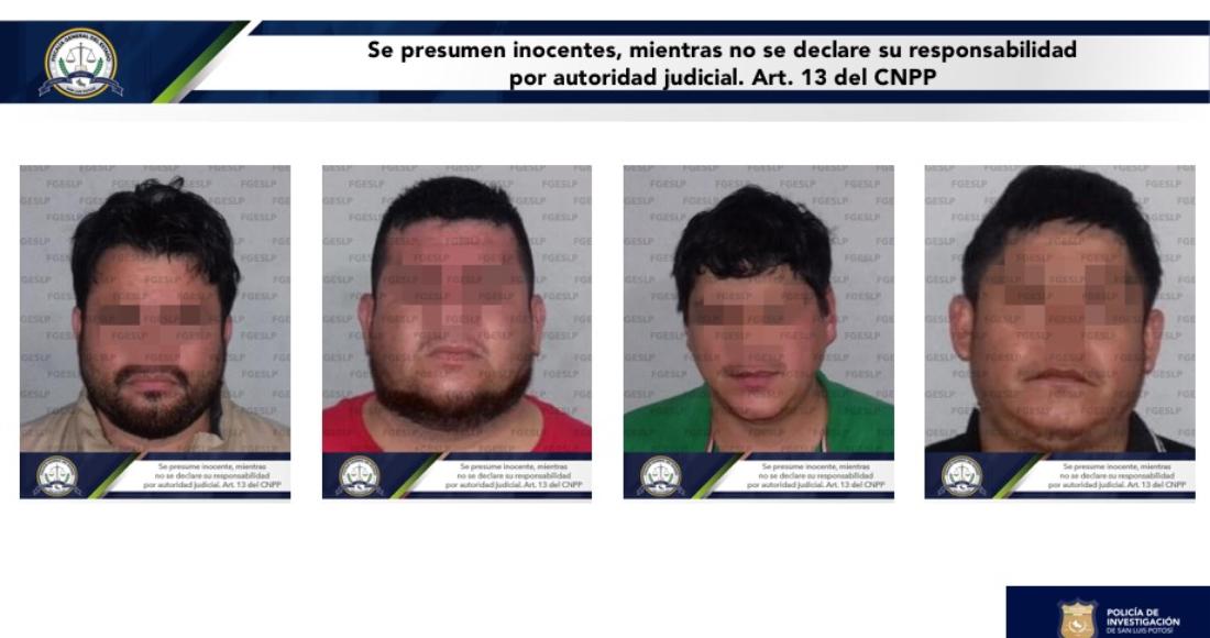 La Fiscalía de San Luis Potosí detuvo a cuatro sospechosos.