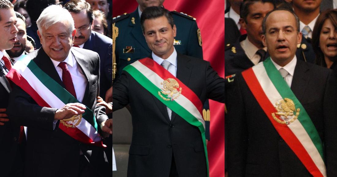 Andrés Manuel López Obrador, Enrique Peña Nieto y Felipe Calderón el día de su toma de posesión.