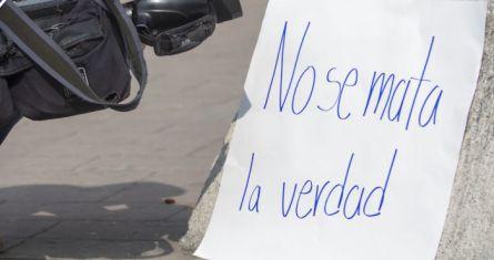 Protesta de periodistas en Nuevo León.