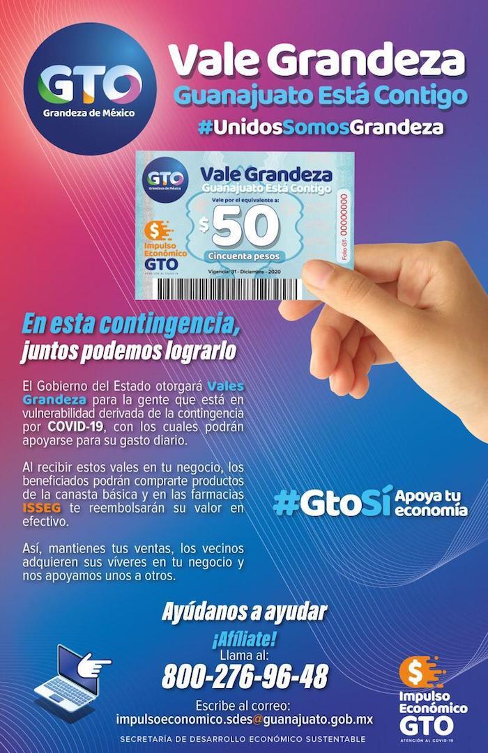"""Propaganda sobre la entrega de los vales """"Grandeza"""" en Guanajuato."""
