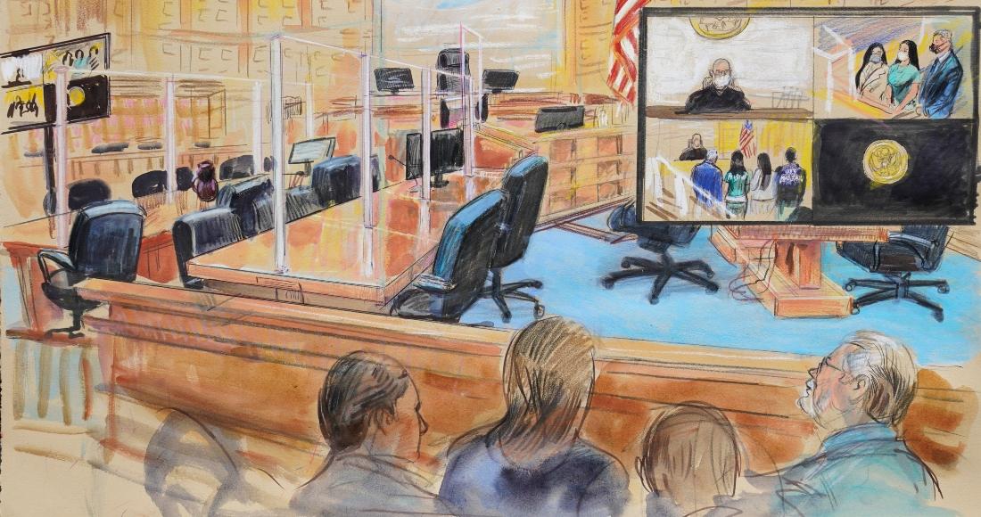 """El dibujo de una artista muestra la audiencia para Emma Coronel Aispuro, esposa de Joaquín """"El Chapo"""" Guzmán, en un tribunal de Washington, el jueves 10 de junio del 2021."""
