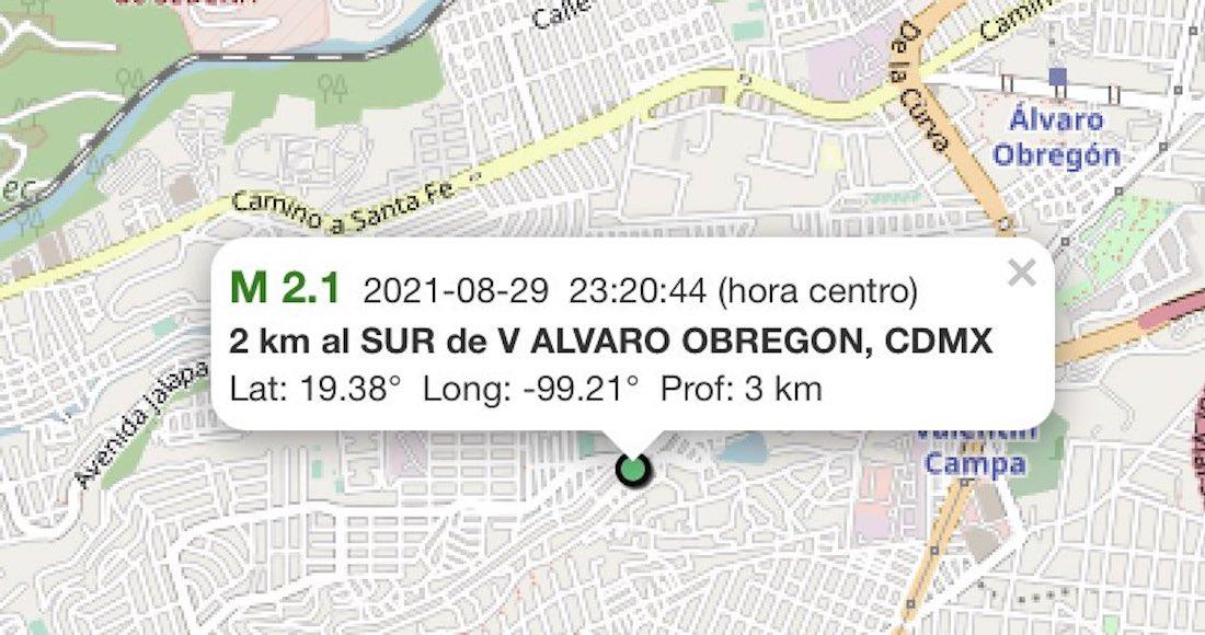 Sismo magnitud 2.1 se origina al sur de la Alcaldía Álvaro Obregón, Ciudad de México