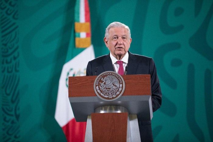 El Presidente Andrés Manuel López Obrador en su conferencia de prensa en Palacio Nacional.