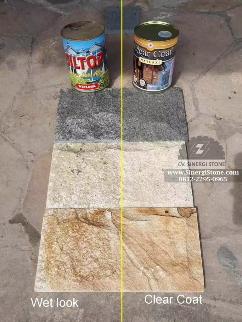 gambar batu alam dibagian kiri di coating SILTOP jenis wetlook dan bagian kanan di coating CLEAR COAT Natural