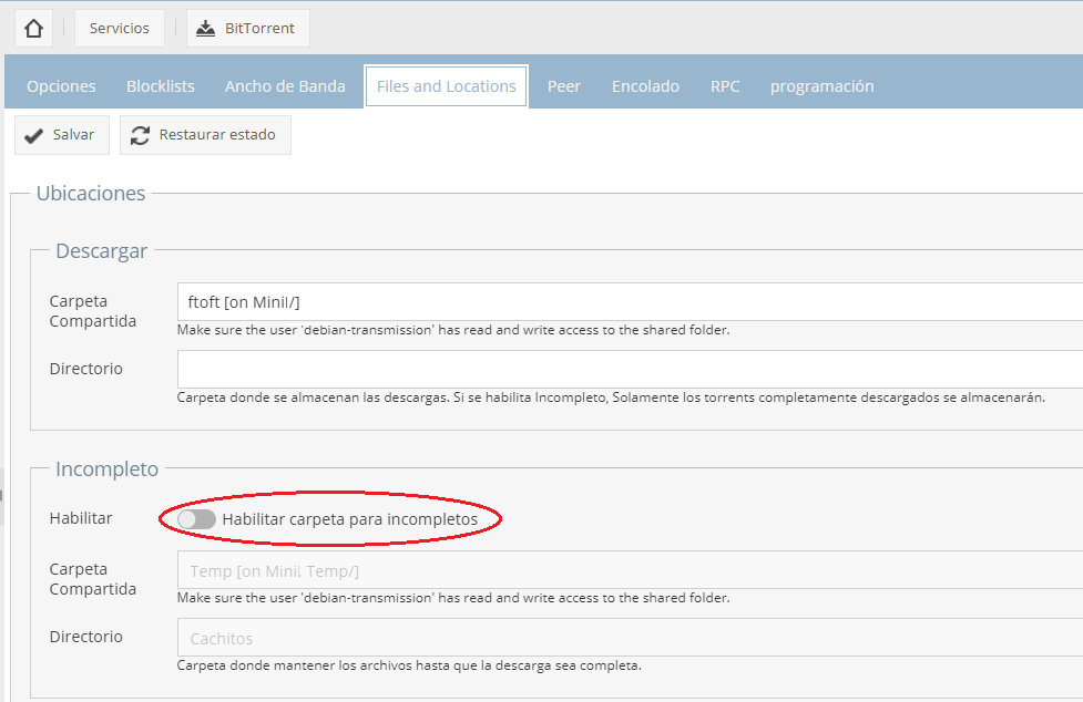 "OpenMediaVault – Transmission: ""Error: No data found"