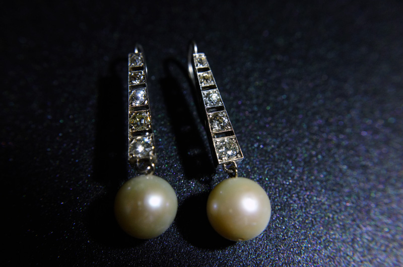 Art Deco Diamond And Pearl Earrings Singapore Island Jewellery Store