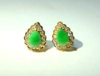 Vintage Jade Teardrop Earrings, Small Jade Stud Earrings ...