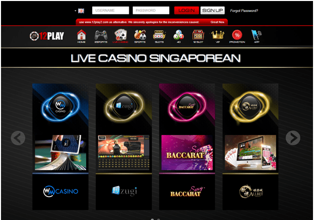 How to play at 12Play Live Casino in Singapore?