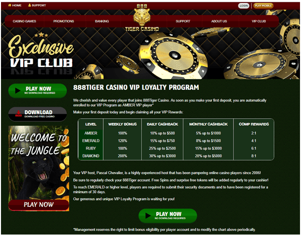 888 Tiger VIP Club Bonus
