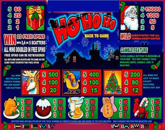 Ho ho ho slots game paytable