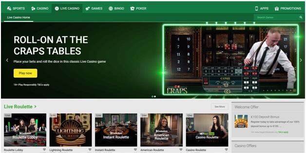 Unibet Live casino games