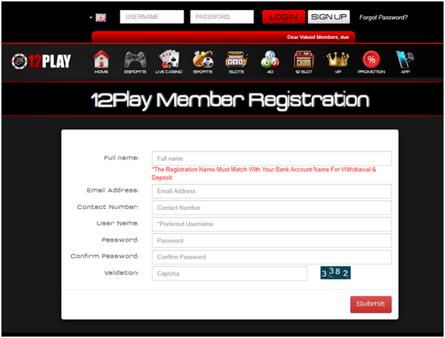 Play live casino at 12Play SG