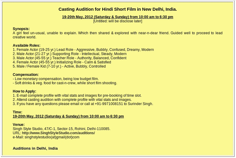 auditions in delhi