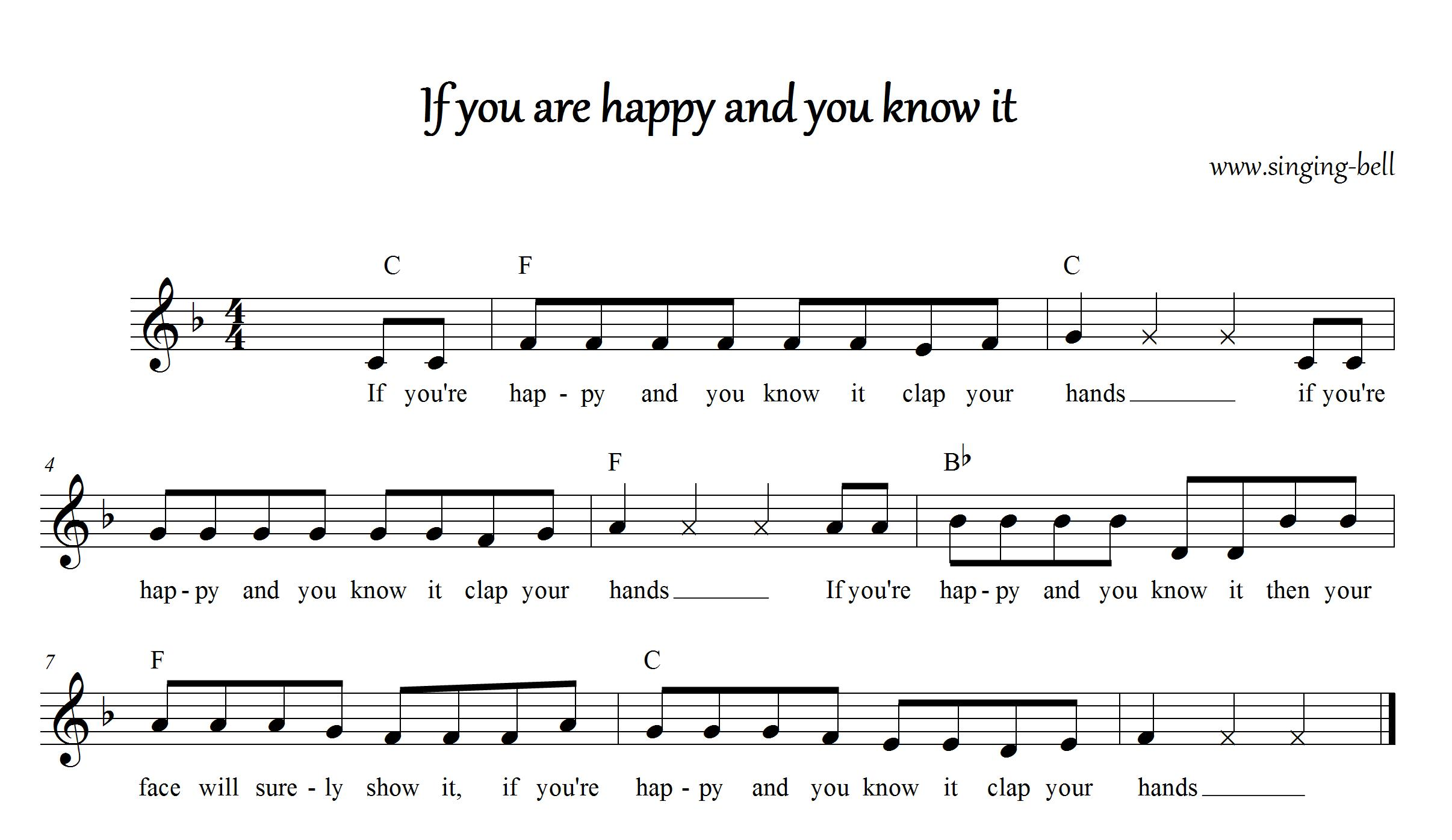 Free Nursery Rhymes Gt If You Re Happy And You Know It