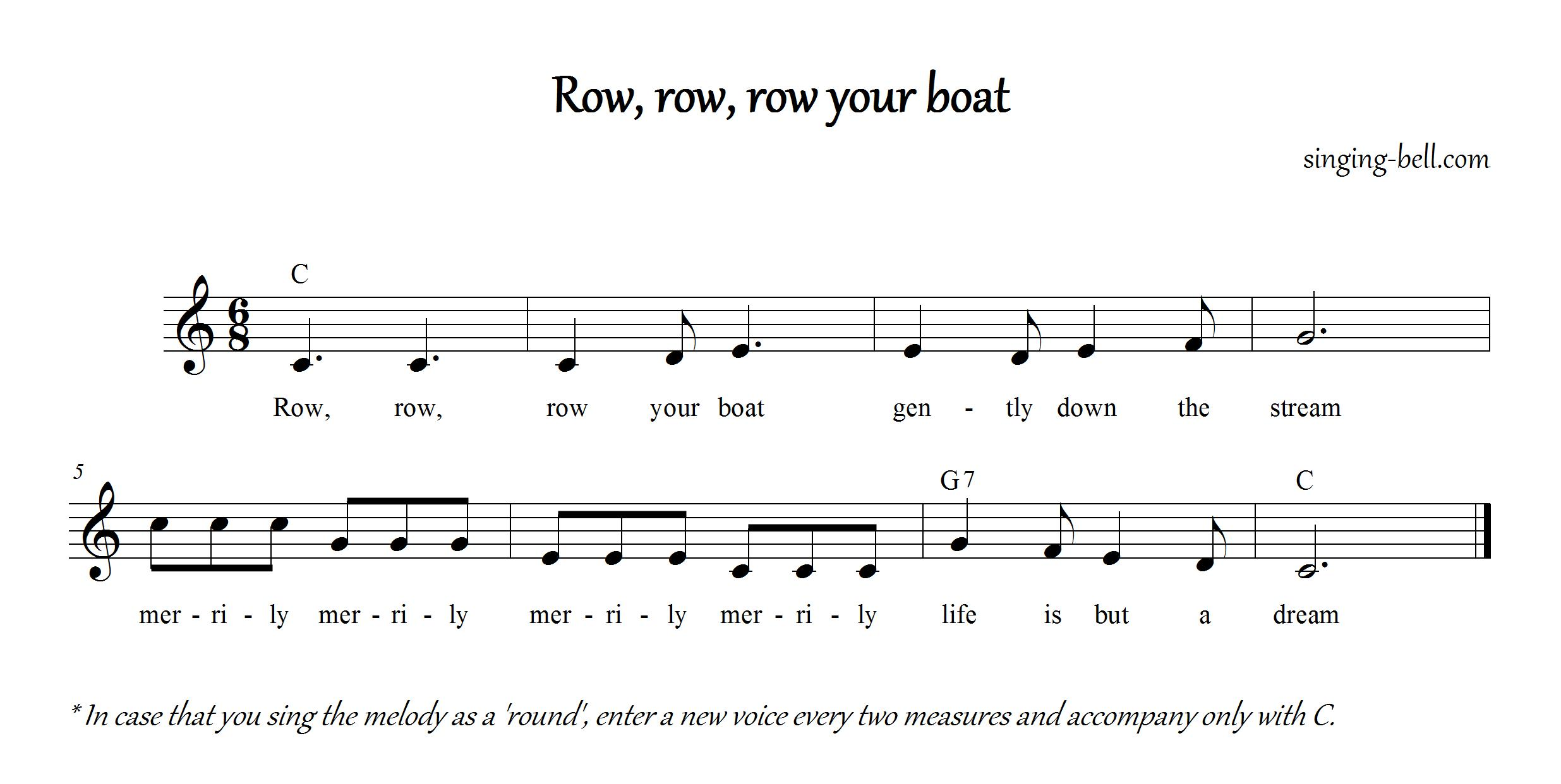 Row Row Row Your Boat Notes