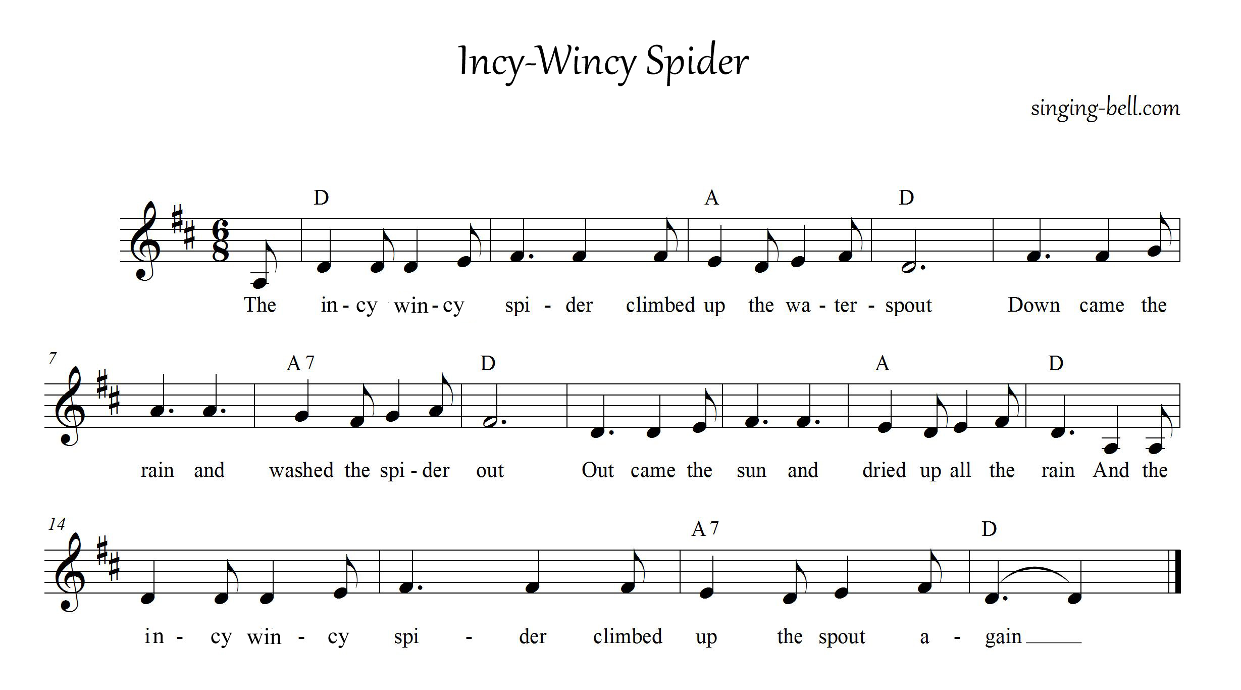 Free Nursery Rhymes Gt Incy Wincy Spider
