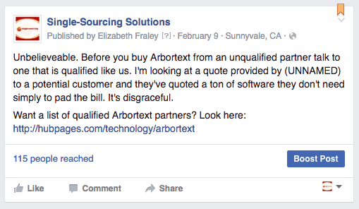 Facebook post: only buy arbortext from a quality partner